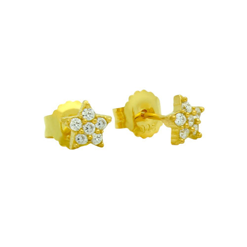 GOLD PLATED PAVE CZ STAR POST EARRINGS