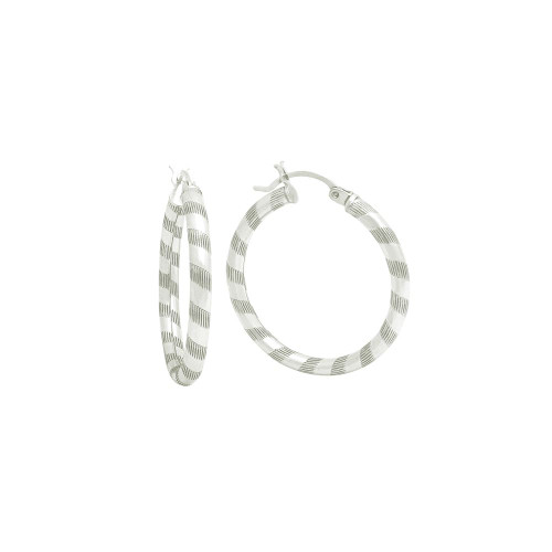 STERLING SILVER 3X25MM LIGHTWEIGHT STRIPED TUBE HOOP EARRINGS