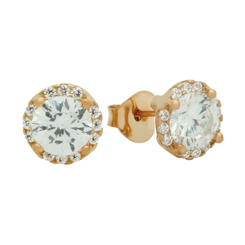 ROSE GOLD PLATED ROUND CZ EARRINGS WITH ALL AROUND SMALL CZ STONES