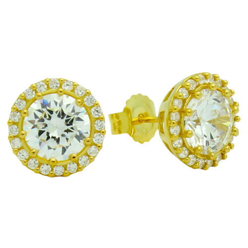 GOLD PLATED ROUND CZ POST EARRINGS