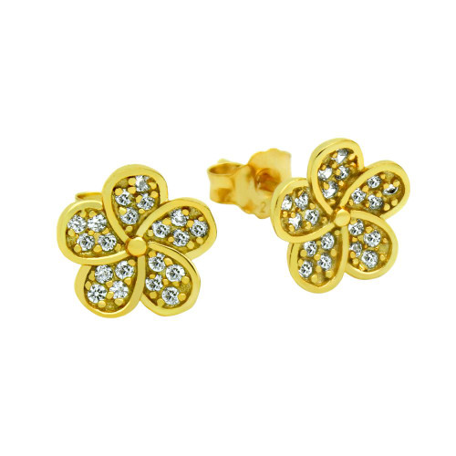 GOLD PLATED CZ FLOWER EARRINGS
