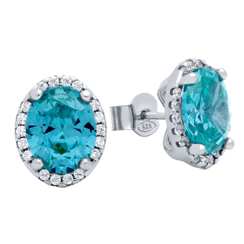 RHODIUM PLATED 8X10 LIGHT BLUE OVAL CZ EARRINGS WITH ALL AROUND CLEAR CZ STONES