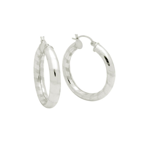 STERLING SILVER 5X32MM LIGHTWEIGHT STRIPED TUBE HOOP EARRINGS