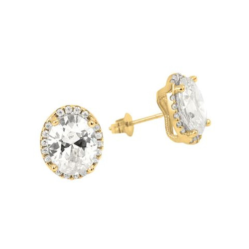 GOLD PLATED OVAL CZ EARRINGS WITH ALL AROUND SMALL CZ STONES