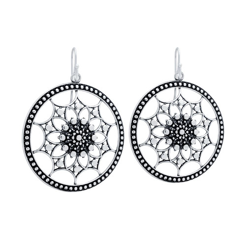 STERLING SILVER 35MM ROUND FISHHOOK EARRINGS WITH INTRICATE GEOMETRIC PATTERN