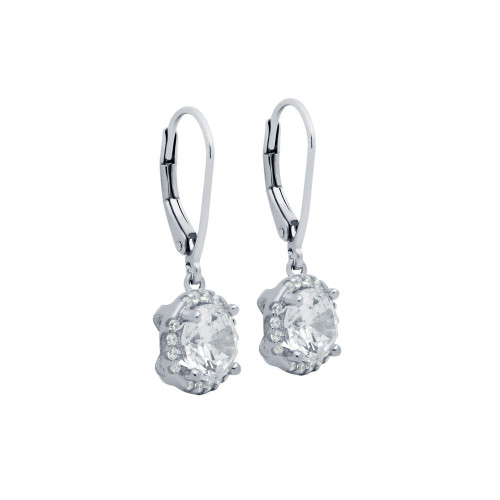 RHODIUM PLATED LARGE ROUND CZ 7.5MM  EARRINGS WITH ALL AROUND SMALL CZ STONES