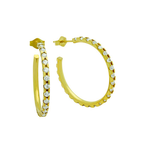 27 MM GOLD PLATED LARGE ETERNITY CZ EARRINGS