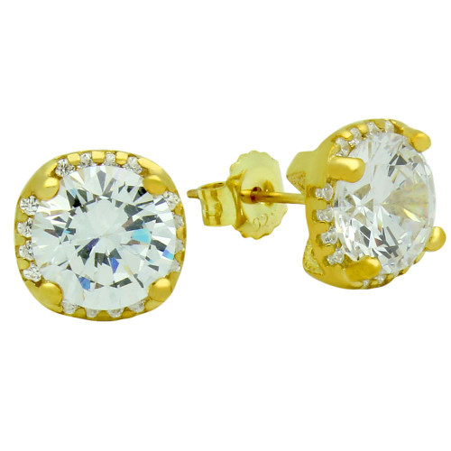 GOLD PLATED SQUARE SHAPE 9MM ROUND CZ EARRINGS WITH ALL AROUND SMALL CZ STONES