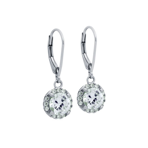 RHODIUM PLATED  6.5MM ROUND CZ DANGLING EARRINGS