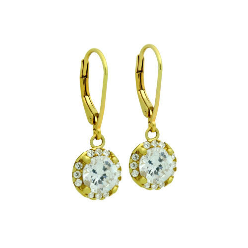 GOLD PLATED ROUND CZ DANGLING EARRINGS