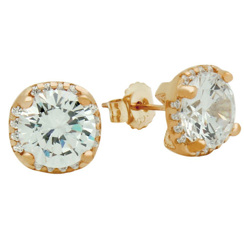 ROSE GOLD PLATED SQUARE SHAPE 9MM ROUND CZ EARRINGS WITH ALL AROUND SMALL CZ STONES
