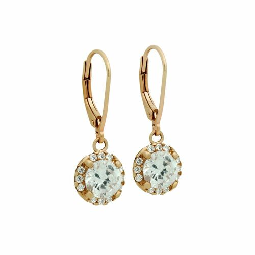 ROSE GOLD PLATED ROUND CZ DANGLING EARRINGS