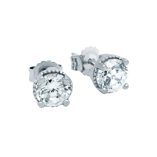 RHODIUM PLATED APRIL BIRTHSTONE CLEAR ROUND CZ STUD EARRINGS