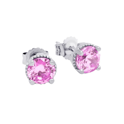 RHODIUM PLATED OCTOBER BIRTHSTONE TOURMALINE PINK ROUND CZ STUD EARRINGS