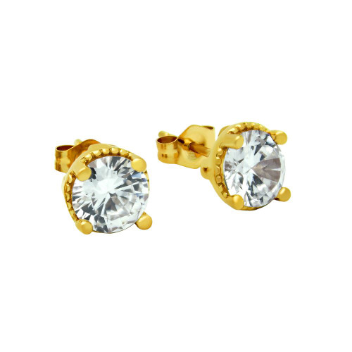GOLD PLATED ROUND CZ STUD EARRINGS