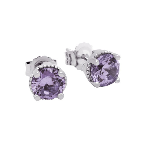 RHODIUM PLATED JUNE BIRTHSTONE ALEXANDRITE LIGHT PURPLE ROUND CZ STUD EARRINGS