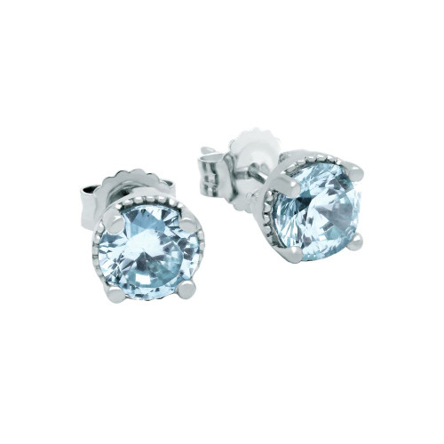 RHODIUM PLATED MARCH BIRTHSTONE AQUAMARINE BLUE ROUND CZ STUD EARRINGS