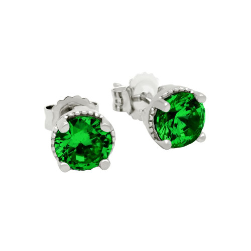 RHODIUM PLATED MAY BIRTHSTONE EMERALD GREEN ROUND CZ STUD EARRINGS