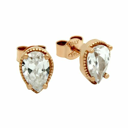 ROSE GOLD PLATED TEARDROP CZ STUD EARRINGS