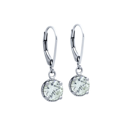 RHODIUM PLATED ROUND CZ LEVERBACK EARRINGS