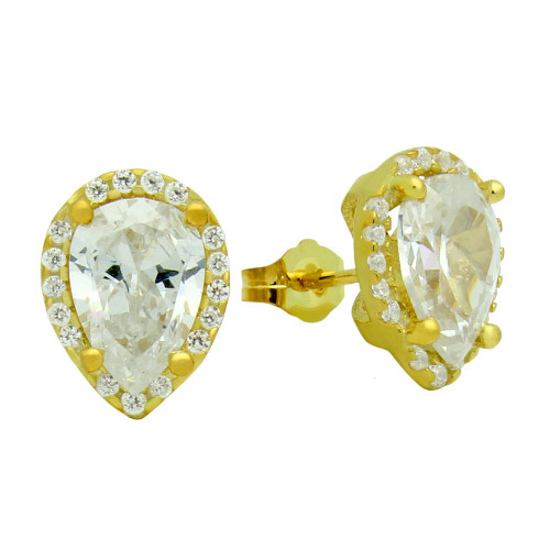 GOLD PLATED TEARDROP CZ EARRINGS WITH ALL AROUND SMALL CZ STONES