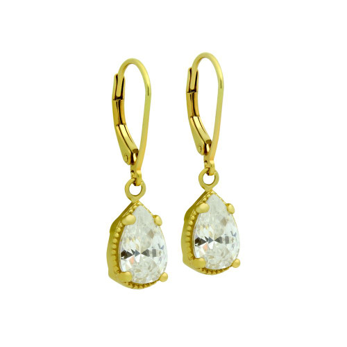 GOLD PLATED TEARDROP CZ LEVERBACK EARRINGS