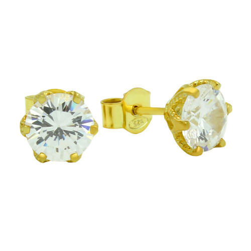 GOLD PLATED FLORAL DESIGN CZ STUD EARRINGS