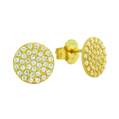 GOLD PLATED STERLING SILVER DISK EARRINGS WITH CZ PAVE