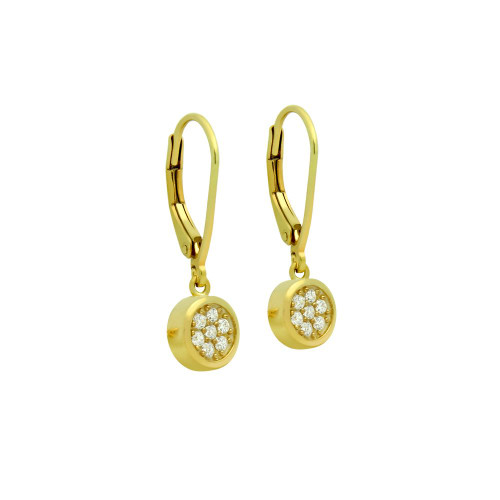 GOLD PLATED ROUND CZ CLUSTER LEVERBACK DANGLE EARRINGS