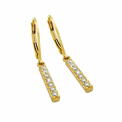 GOLD PLATED CZ BAR EARRINGS, MEDIUM