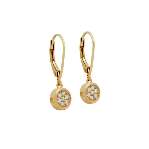 ROSE GOLD PLATED ROUND CZ CLUSTER LEVERBACK DANGLE EARRINGS