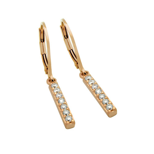 ROSE GOLD PLATED CZ BAR EARRINGS, MEDIUM