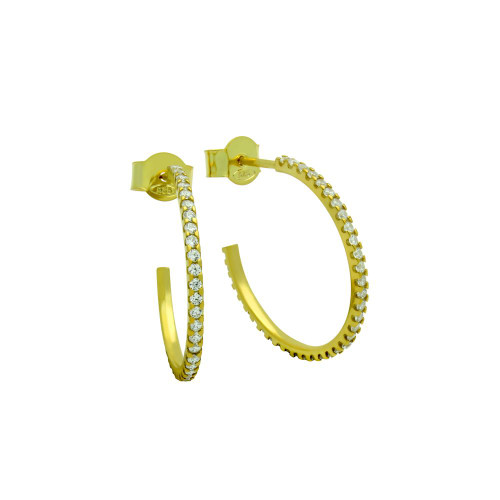 GOLD PLATED 1.25MM CZ HOOP EARRINGS