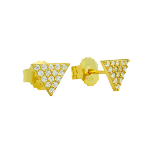 GOLD PLATED CZ TRIANGLE EARRINGS