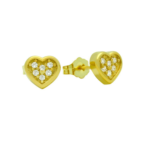 GOLD PLATED HEART SHAPED CZ CLUSTER STUD EARRINGS