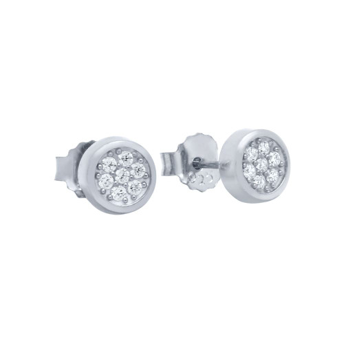 RHODIUM PLATED ROUND CZ CLUSTER STUD EARRINGS