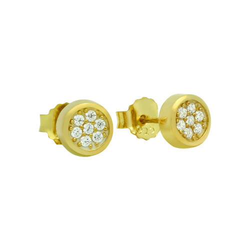 GOLD PLATED ROUND CZ CLUSTER STUD EARRINGS
