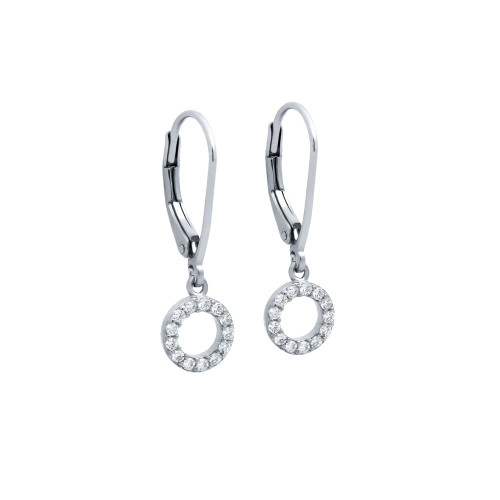 RHODIUM PLATED 7MM CZ ETERNITY CIRCLE EARRINGS