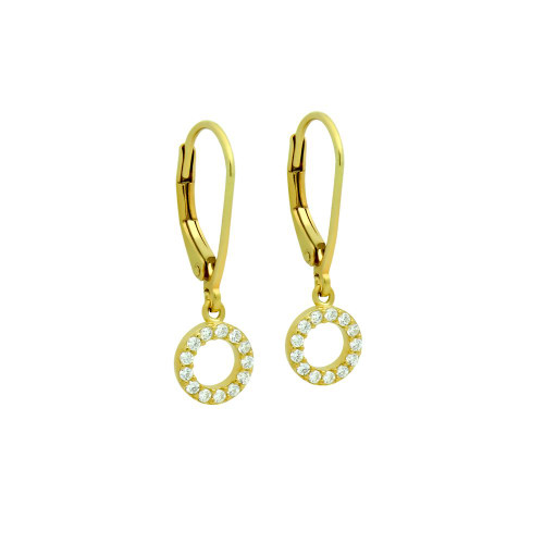 GOLD PLATED 7MM CZ ETERNITY CIRCLE EARRINGS