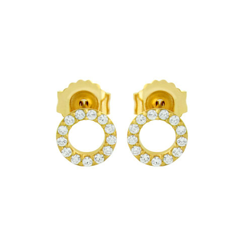 GOLD PLATED 7MM CZ ETERNITY CIRCLE STUD EARRINGS