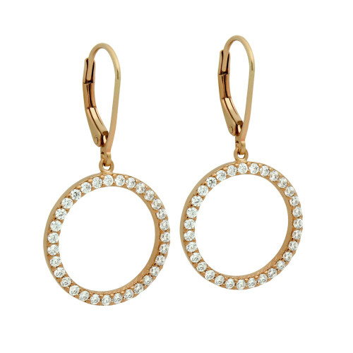 ROSE GOLD PLATED 18MM CZ ETERNITY CIRCLE EARRINGS
