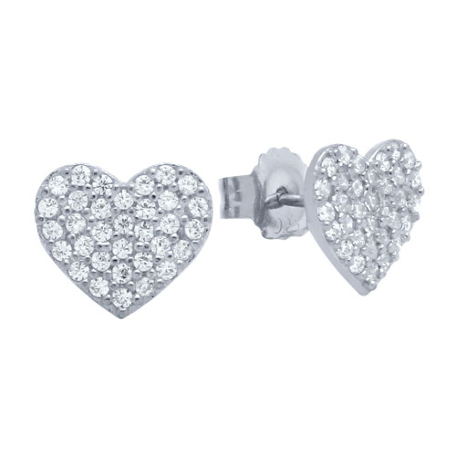 RHODIUM PLATED STERLING SILVER HEART EARRINGS WITH CZ PAVE