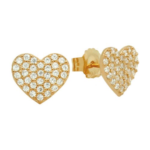 ROSE GOLD PLATED STERLING SILVER HEART EARRINGS WITH CZ PAVE