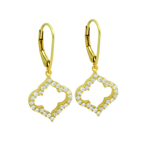 GOLD PLATED CZ CUTOUT ROYAL CLOVER LEVER BACK EARRINGS