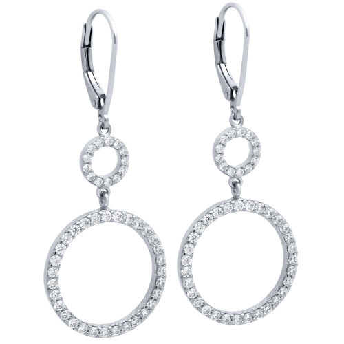 RHODIUM GOLD PLATED DOUBLE CZ ETERNITY CIRCLE LEVER BACK EARRINGS