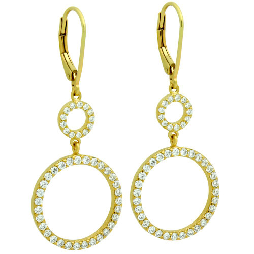 GOLD PLATED DOUBLE CZ ETERNITY CIRCLE LEVER BACK EARRINGS