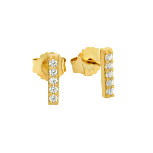 GOLD PLATED 10MM CZ BAR STUD EARRINGS
