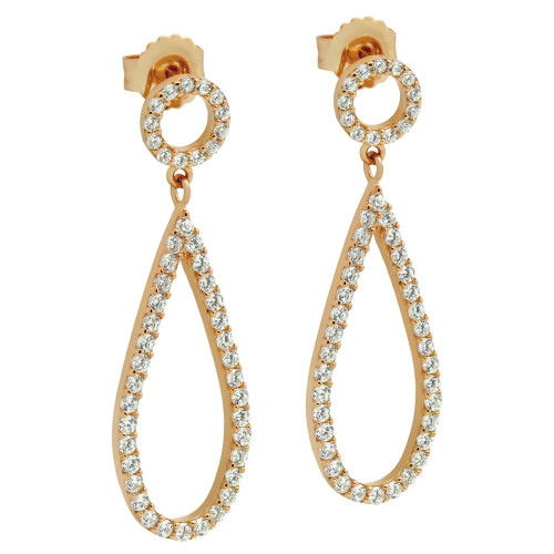 ROSE GOLD PLATED DROP AND CIRCLE OUTLINE CZ PAVE EARRINGS