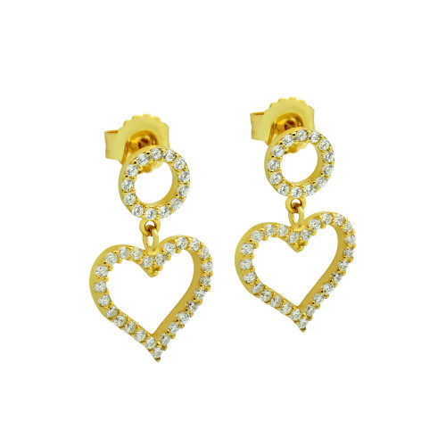 GOLD PLATED HEART AND CIRCLE OUTLINE CZ PAVE EARRINGS