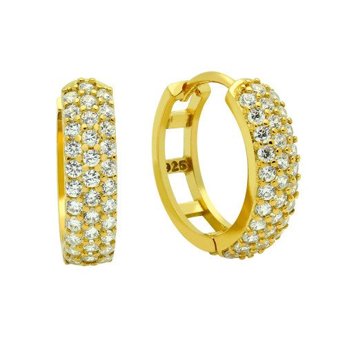 GOLD PLATED 17MM ROUND HUGGIE EARRINGS WITH TRIPPLE ROW CZ PAVE